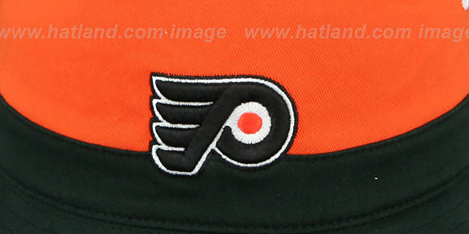 Flyers 'COLOR-BLOCK BUCKET' White-Orange-Black Hat by Mitchell and Ness