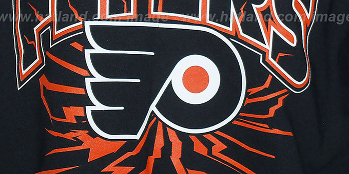 Flyers 'EARTHQUAKE' Black T-Shirt by Mitchell & Ness