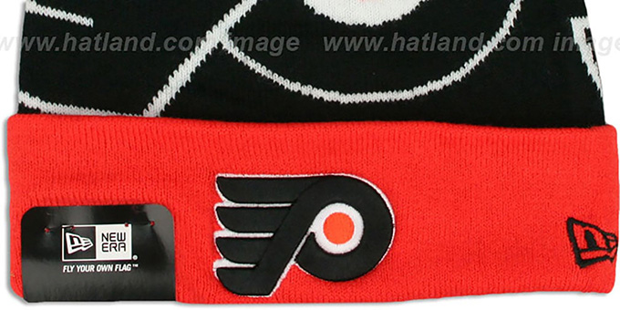 Flyers 'LOGO WHIZ' Black-Orange Knit Beanie Hat by New Era