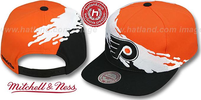 4c3ce0b633d ... Flyers  PAINTBRUSH SNAPBACK  Orange-White-Black Hat by Mitchell   Ness  ...
