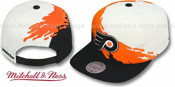 54026557b26 ... Flyers  PAINTBRUSH SNAPBACK  White-Orange-Black Hat by Mitchell   Ness  ...