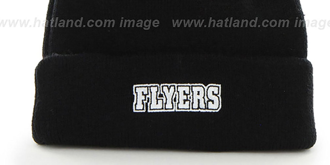 Flyers 'POMPOM CUFF' Black Knit Beanie Hat by Twins 47 Brand