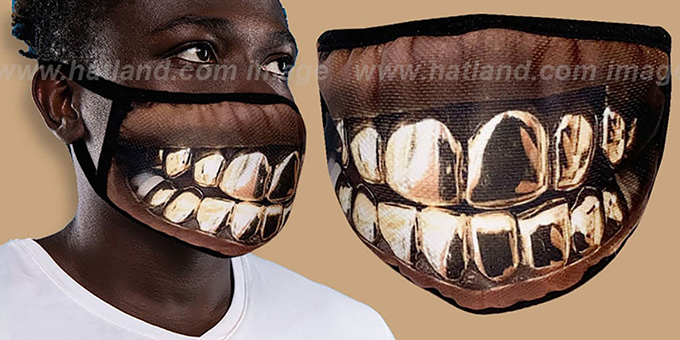 GOLD GRILLZ Washable Fashion Mask by Hatland.com