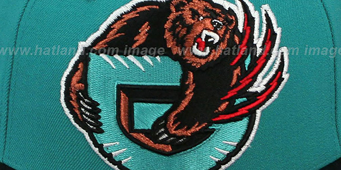 Grizzlies '2T XL-LOGO' Teal-Black Fitted Hat by Mitchell & Ness