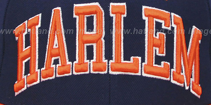 Harlem '2T SUPER-ARCH SNAPBACK' Navy-Orange Adjustable Hat by Zephyr