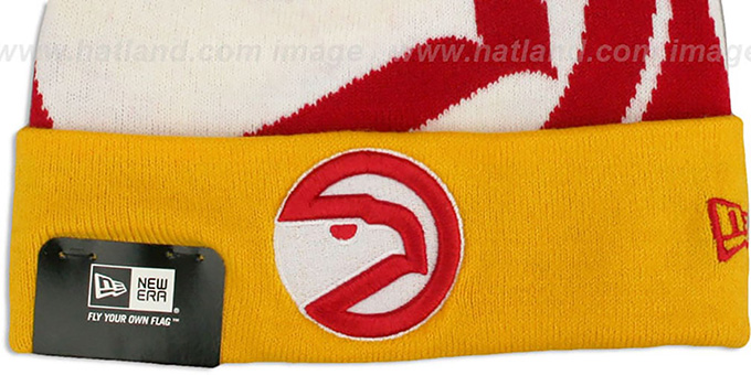 Hawks 'LOGO WHIZ' Red-Gold Knit Beanie Hat by New Era
