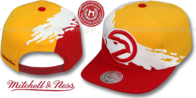 Hawks 'PAINTBRUSH SNAPBACK' Gold-White-Red Hat by Mitchell & Ness