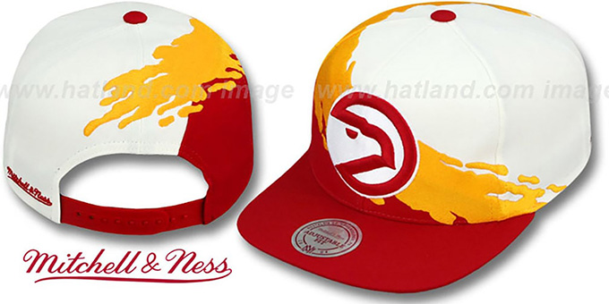 Hawks 'PAINTBRUSH SNAPBACK' White-Gold-Red Hat by Mitchell & Ness