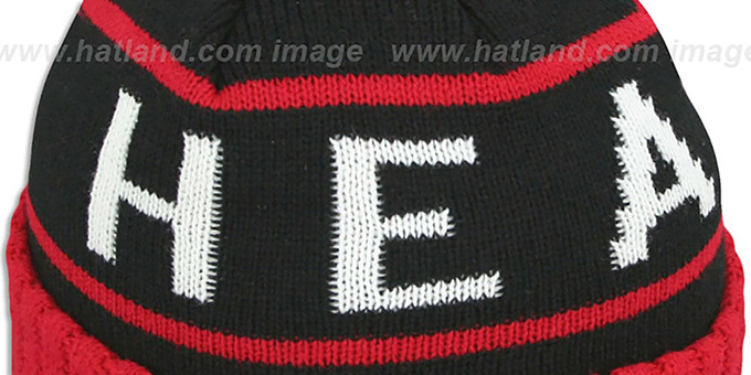 Heat 'HIGH-5 CIRCLE BEANIE' Black-Red by Mitchell and Ness