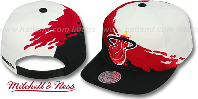 Heat 'PAINTBRUSH SNAPBACK' White-Red-Black Hat by Mitchell & Ness