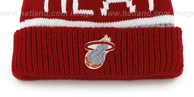 Heat 'THE-CALGARY' Red-Grey Knit Beanie Hat by Twins 47 Brand