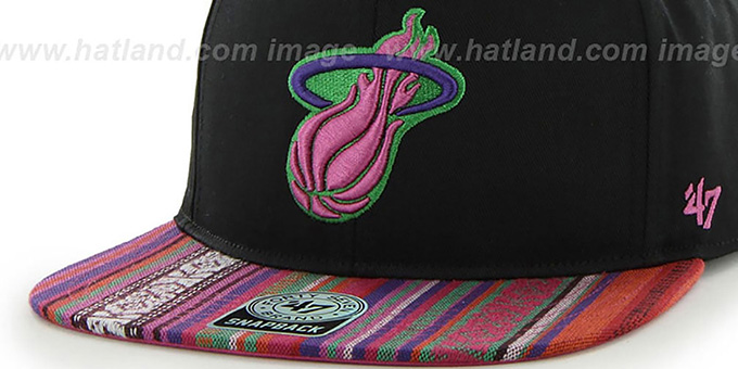 Heat 'THE-DUDE SNAPBACK' Black-Pink Hat by Twins 47 Brand