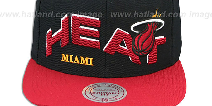 Heat 'THE-WAVE SNAPBACK' Black-Red Hat by Mitchell and Ness