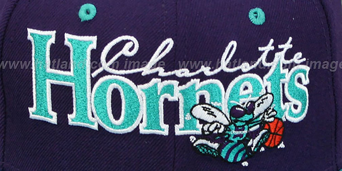 Hornets '2T CLASSIC-TAG HWCB SNAPBACK' Purple-Teal Adjustable Hat by New Era