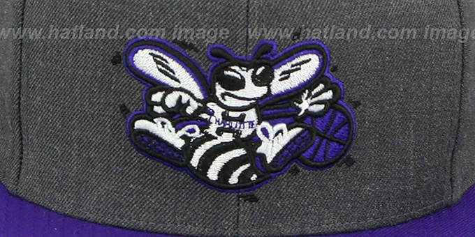Hornets '2T-HEATHER SNAPBACK' Grey-Purple Hat by Mitchell & Ness
