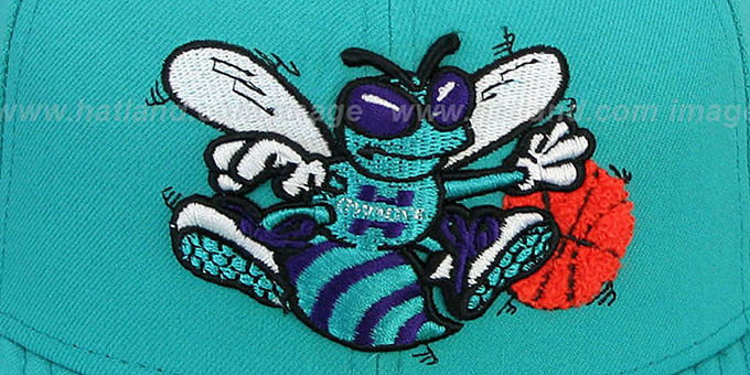 Hornets 'CHENILLE APPLIQUE' Teal Fitted Hat by New Era