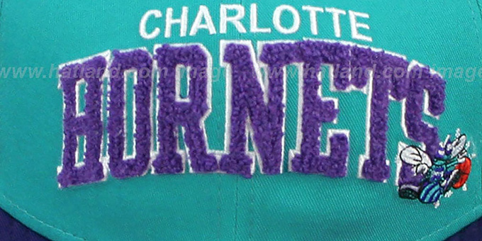 Hornets 'CHENILLE-ARCH SNAPBACK' Teal-Purple Hat by New Era