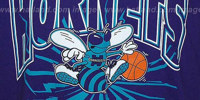 Hornets 'EARTHQUAKE' Purple T-Shirt by Mitchell & Ness