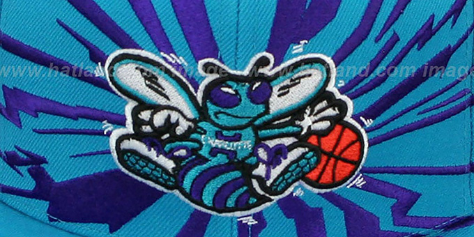 Hornets 'EARTHQUAKE SNAPBACK' Teal Hat by Mitchell & Ness