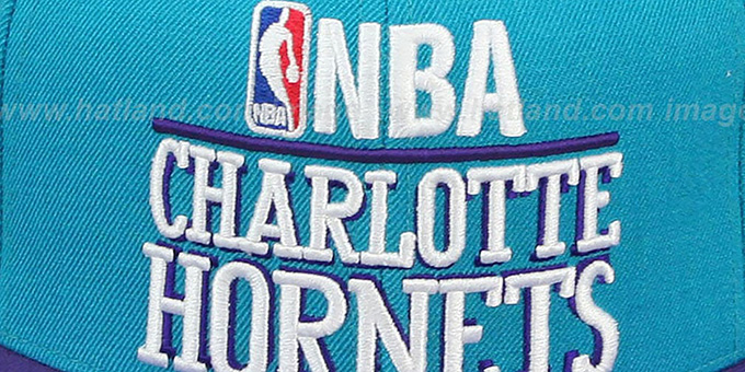 Hornets 'MEDIA-DAY SNAPBACK' Teal-Purple Hat by Mitchell & Ness