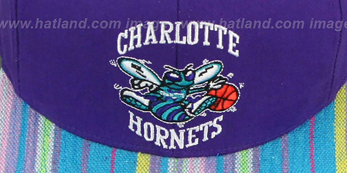 Hornets 'NATIVE-STRIPE SNAPBACK' Purple Hat by Mitchell and Ness