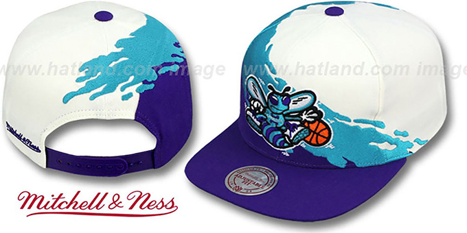 Hornets 'PAINTBRUSH SNAPBACK' White-Teal-Purple Hat by Mitchell & Ness