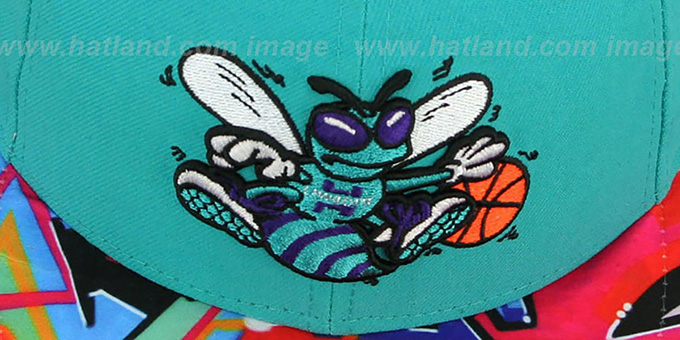 Hornets 'REAL GRAFFITI VIZA-PRINT' Teal Fitted Hat by New Era