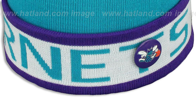 Hornets 'THE-BUTTON' Knit Beanie Hat by Michell & Ness