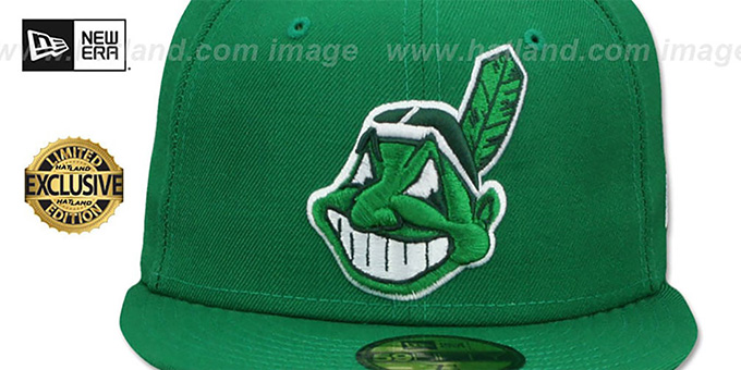 Indians 'CHIEF-WAHOO' Green-White Fitted Hat by New Era