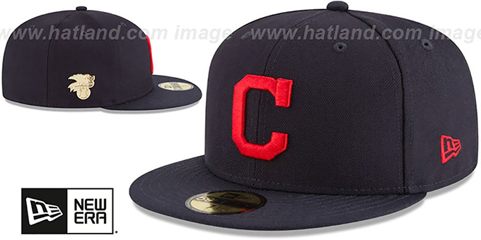 Indians 'GILDED TURN' Navy Fitted Hat by New Era