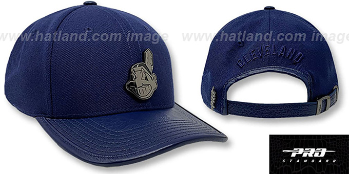 Indians LOW-PRO 'BLACK METAL BADGE STRAPBACK' Navy Hat by Pro Standard
