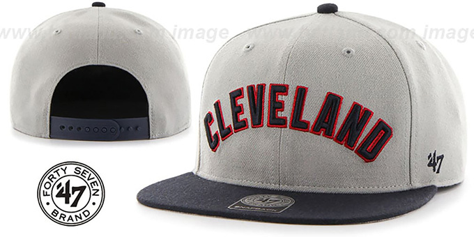 Indians 'SCRIPT-SIDE SNAPBACK' Grey-Navy Hat by Twins 47 Brand