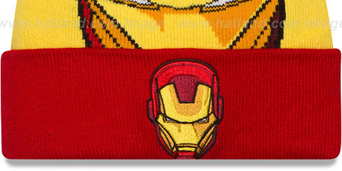 Ironman 'LOGO WHIZ' Gold-Red Knit Beanie Hat by New Era