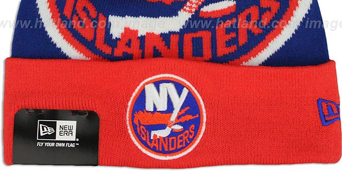 a9b428b2cbb ... Islanders  LOGO WHIZ  Royal-Orange Knit Beanie Hat by New Era ...