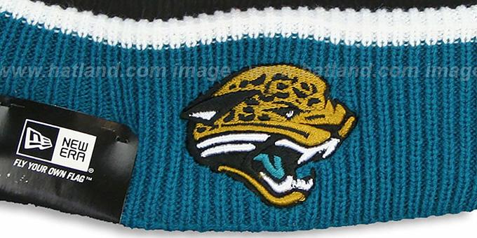dd59b4bc7b4e8 ... Jaguars  NFL FIRESIDE  Black-Teal Knit Beanie Hat by New Era