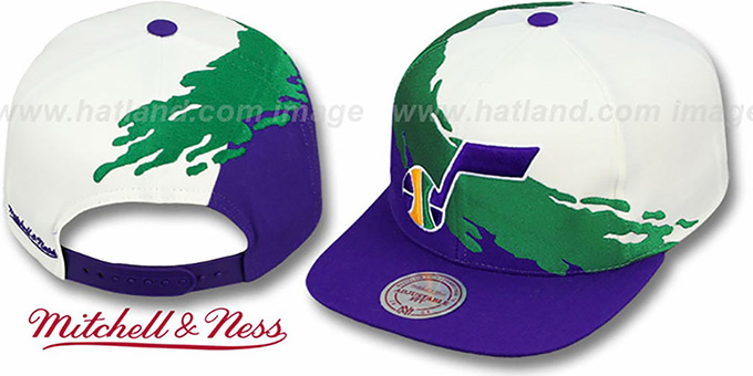 Jazz 'PAINTBRUSH SNAPBACK' White-Green-Purple Hat by Mitchell and Ness