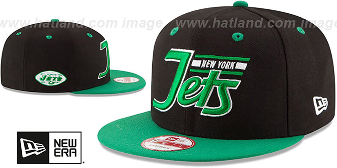 Jets '2T RETRO-SCRIPT SNAPBACK' Black-Green Hat by New Era