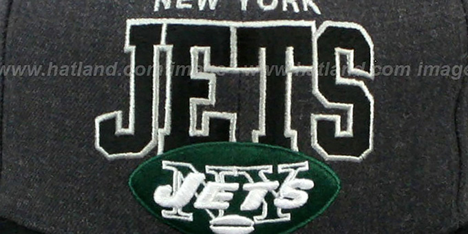 Jets '2T TEAM-ARCH SNAPBACK' Black-Grey Hat by Mitchell & Ness
