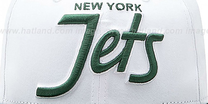 Jets '2T TEAM-SCRIPT SNAPBACK' White-Green Hat by New Era