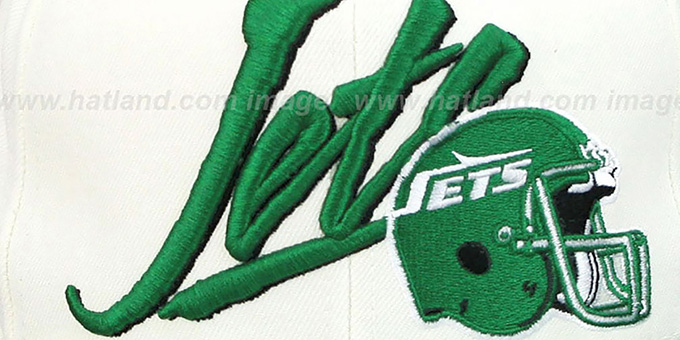 Jets '2T VICE SNAPBACK' White-Green Adjustable Hat by Mitchell & Ness