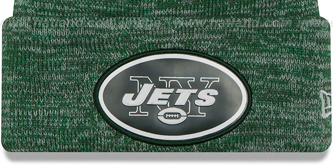 Jets 'BEVEL' Green-White Knit Beanie Hat by New Era