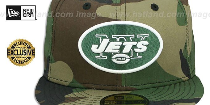 Jets 'NFL TEAM-BASIC' Army Camo Fitted Hat by New Era
