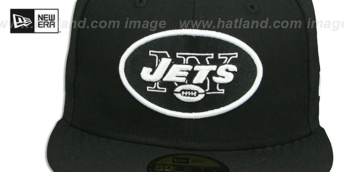 Jets 'NFL TEAM-BASIC' Black-White Fitted Hat by New Era