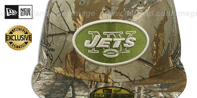 Jets 'NFL TEAM-BASIC' Realtree Camo Fitted Hat by New Era