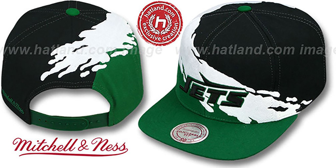 Jets 'PAINTBRUSH SNAPBACK' Black-White-Green Hat by Mitchell & Ness
