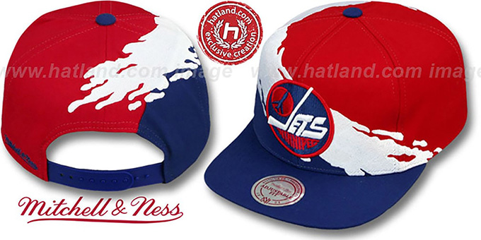 Jets 'PAINTBRUSH SNAPBACK' Red-White-Navy Hat by Mitchell & Ness
