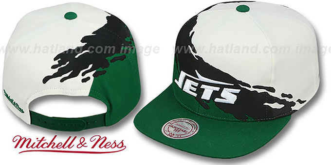 ... Jets  PAINTBRUSH SNAPBACK  White-Black-Green Hat by Mitchell   Ness ... dd816594e3cb