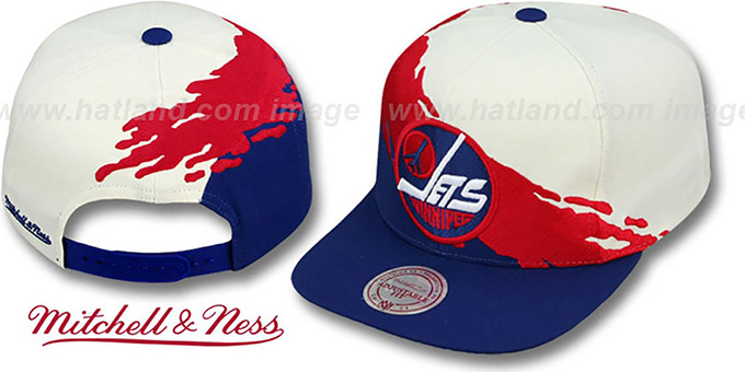 Jets 'PAINTBRUSH SNAPBACK' White-Red-Navy Hat by Mitchell & Ness