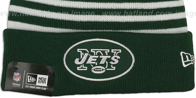 Jets 'STRIPEOUT' Knit Beanie Hat by New Era