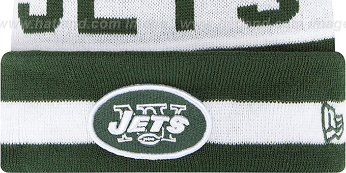 Jets 'THE-COACH' Green Knit Beanie Hat by New Era
